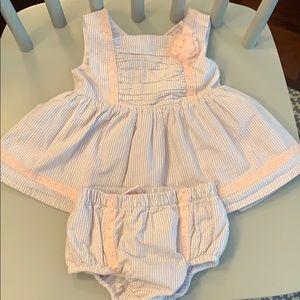 Seersucker two piece dress with bloomer